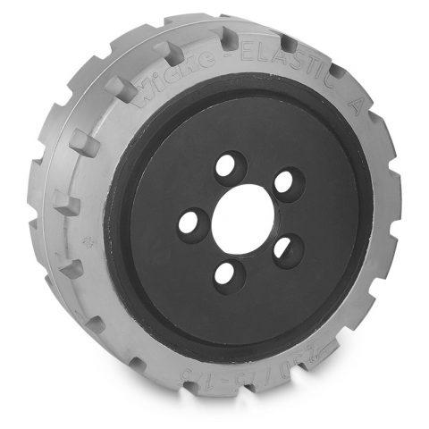 Pogonski točak za električne paletne viljuškare 230X75mm od elastična guma  sa aplikacija - primena prirubnica sa  otvori za