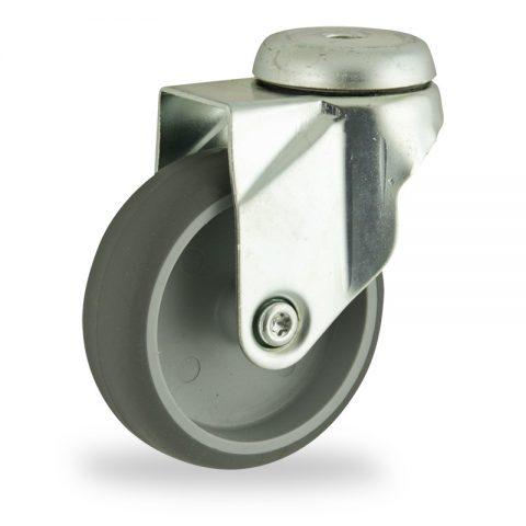 Okretni točak,75mm za lagana kolica, sa točkom od termoplastika siva neobeležena guma osovina kliznog ležaja montaža sa otvor - rupa