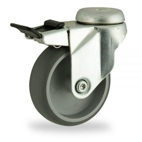 Okretni točak sa kočnicom,75mm za lagana kolica, sa točkom od termoplastika siva neobeležena guma osovina kliznog ležaja montaža sa otvor - rupa