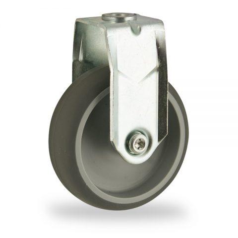 Fiksni točak,150mm za lagana kolica, sa točkom od termoplastika siva neobeležena guma kuglični ležajevimontaža sa otvor - rupa