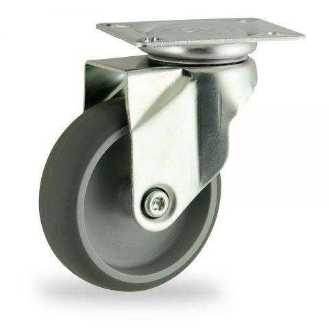 Okretni točak,100mm za lagana kolica, sa točkom od termoplastika siva neobeležena guma osovina kliznog ležaja montaža sa gornja ploča