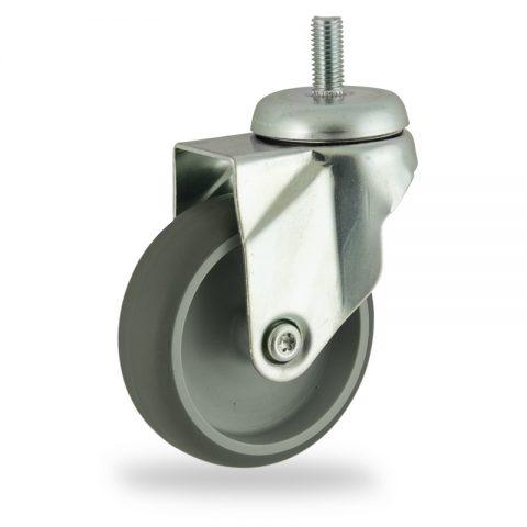 Okretni točak,75mm za lagana kolica, sa točkom od termoplastika siva neobeležena guma osovina kliznog ležaja montaža sa navoj
