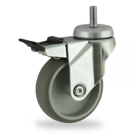 Okretni točak sa kočnicom,75mm za lagana kolica, sa točkom od termoplastika siva neobeležena guma osovina kliznog ležaja montaža sa navoj