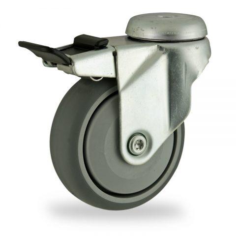 Okretni točak sa kočnicom,125mm za lagana kolica, sa točkom od termoplastika siva neobeležena guma osovina sa jednokugličnim ležajem montaža sa otvor - rupa