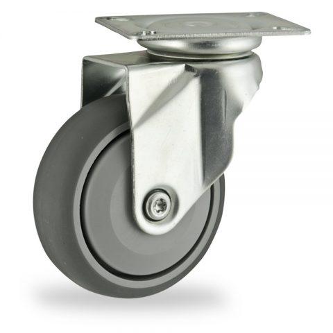 Okretni točak,125mm za lagana kolica, sa točkom od termoplastika siva neobeležena guma osovina sa jednokugličnim ležajem montaža sa gornja ploča