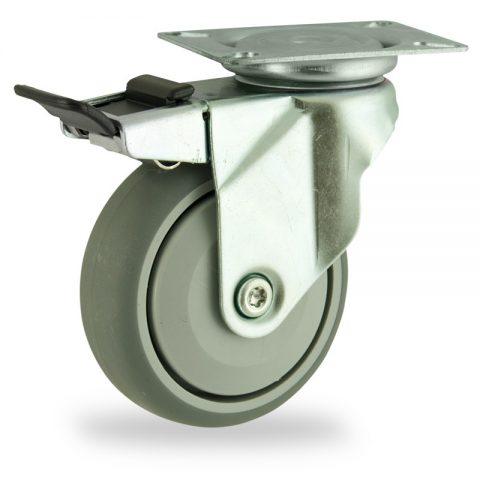 Okretni točak sa kočnicom,125mm za lagana kolica, sa točkom od termoplastika siva neobeležena guma osovina sa jednokugličnim ležajem montaža sa gornja ploča