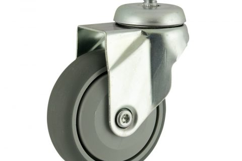 Okretni točak,75mm za lagana kolica, sa točkom od termoplastika siva neobeležena guma osovina sa jednokugličnim ležajem montaža sa navoj