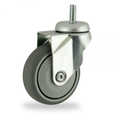 Okretni točak,125mm za lagana kolica, sa točkom od termoplastika siva neobeležena guma osovina sa jednokugličnim ležajem montaža sa navoj
