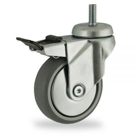 Okretni točak sa kočnicom,125mm za lagana kolica, sa točkom od termoplastika siva neobeležena guma osovina kliznog ležaja montaža sa navoj