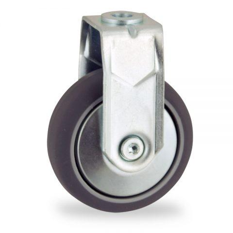 Fiksni točak,100mm za lagana kolica, sa točkom od termoplastika siva neobeležena guma kuglični ležajevimontaža sa otvor - rupa