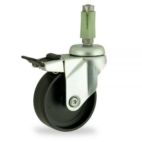 Okretni točak sa kočnicom,100mm za lagana kolica, sa točkom od polipropilen  osovina kliznog ležaja montaža sa ekspander