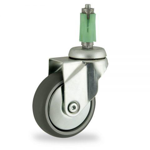 Okretni točak,125mm za lagana kolica, sa točkom od termoplastika siva neobeležena guma osovina kliznog ležaja montaža sa ekspander