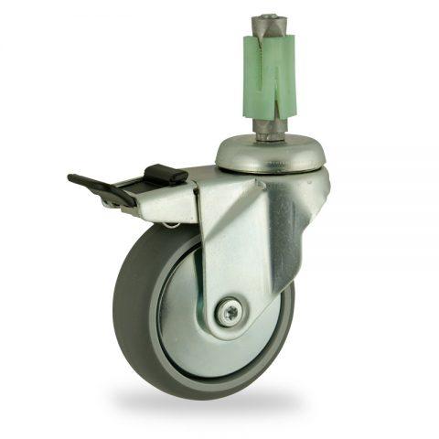 Okretni točak sa kočnicom,150mm za lagana kolica, sa točkom od termoplastika siva neobeležena guma osovina kliznog ležaja montaža sa ekspander