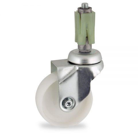 Okretni točak,75mm za lagana kolica, sa točkom od poliamid tip 6 osovina kliznog ležaja montaža sa ekspander