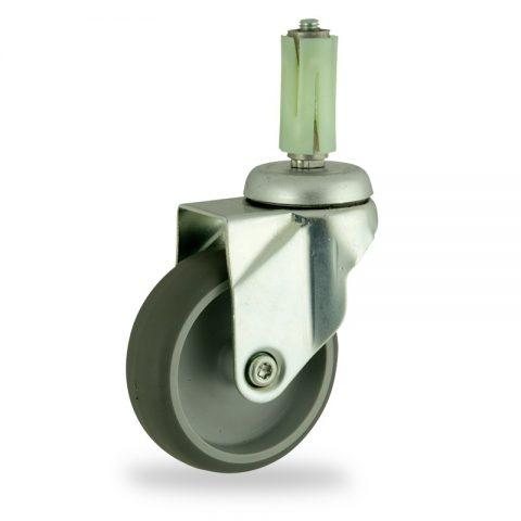 Okretni točak,125mm za lagana kolica, sa točkom od termoplastika siva neobeležena guma kuglični ležajevimontaža sa ekspander
