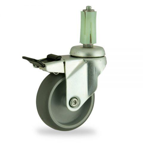Okretni točak sa kočnicom,125mm za lagana kolica, sa točkom od termoplastika siva neobeležena guma kuglični ležajevimontaža sa ekspander