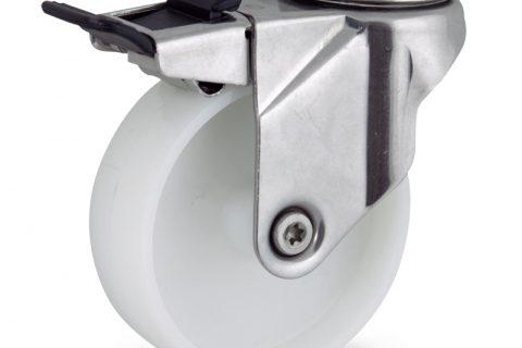 INOX Okretni točak sa kočnicom,100mm za lagana kolica, sa točkom od poliamid tip 6 osovina kliznog ležaja montaža sa otvor - rupa