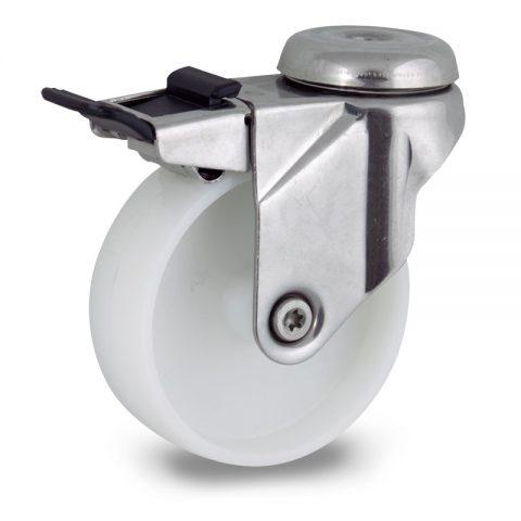 INOX Okretni točak sa kočnicom,125mm za lagana kolica, sa točkom od poliamid tip 6 osovina kliznog ležaja montaža sa otvor - rupa