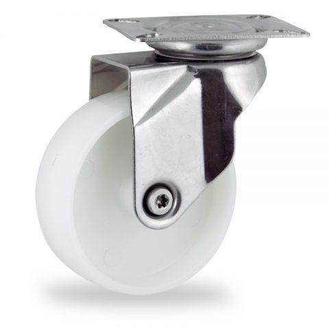 INOX Okretni točak,150mm za lagana kolica, sa točkom od poliamid tip 6 osovina kliznog ležaja montaža sa gornja ploča