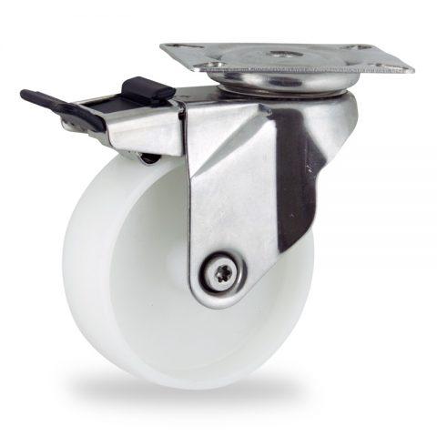 INOX Okretni točak sa kočnicom,150mm za lagana kolica, sa točkom od poliamid tip 6 osovina kliznog ležaja montaža sa gornja ploča