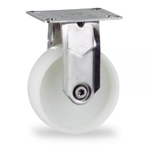INOX Fiksni točak,150mm za lagana kolica, sa točkom od poliamid tip 6 osovina kliznog ležaja montaža sa gornja ploča