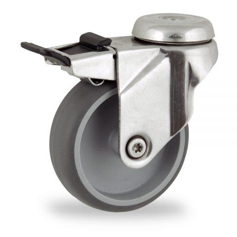 INOX Okretni točak sa kočnicom,125mm za lagana kolica, sa točkom od termoplastika siva neobeležena guma osovina kliznog ležaja montaža sa otvor - rupa