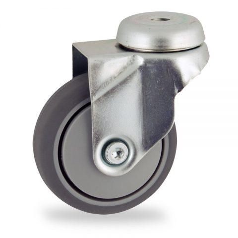 Okretni točak,50mm za lagana kolica, sa točkom od termoplastika siva neobeležena guma osovina sa jednokugličnim ležajem montaža sa otvor - rupa
