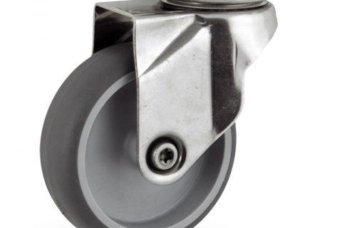 INOX Okretni točak,150mm za lagana kolica, sa točkom od termoplastika siva neobeležena guma osovina kliznog ležaja montaža sa gornja ploča