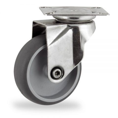 INOX Okretni točak,125mm za lagana kolica, sa točkom od termoplastika siva neobeležena guma kuglični ležajevimontaža sa gornja ploča