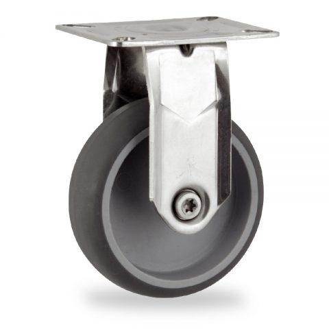 INOX Fiksni točak,125mm za lagana kolica, sa točkom od termoplastika siva neobeležena guma kuglični ležajevimontaža sa gornja ploča