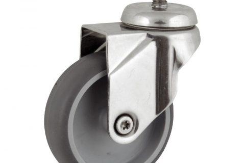 INOX Okretni točak,100mm za lagana kolica, sa točkom od termoplastika siva neobeležena guma osovina kliznog ležaja montaža sa navoj