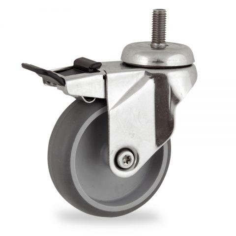 INOX Okretni točak sa kočnicom,100mm za lagana kolica, sa točkom od termoplastika siva neobeležena guma osovina kliznog ležaja montaža sa navoj