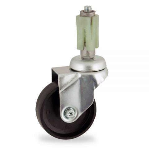 Okretni točak,125mm za lagana kolica, sa točkom od polipropilen  osovina kliznog ležaja montaža sa ekspander