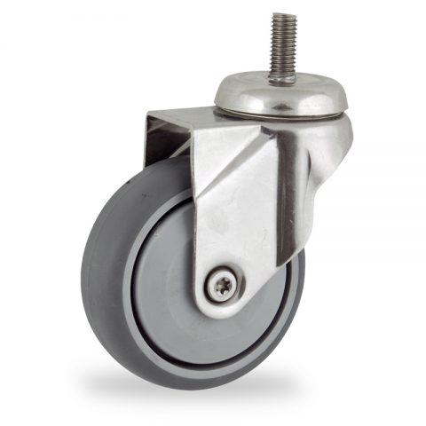 INOX Okretni točak,100mm za lagana kolica, sa točkom od termoplastika siva neobeležena guma osovina sa jednokugličnim ležajem montaža sa navoj