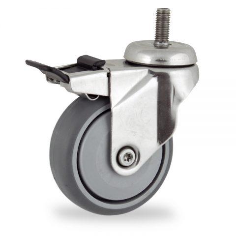 INOX Okretni točak sa kočnicom,100mm za lagana kolica, sa točkom od termoplastika siva neobeležena guma osovina sa jednokugličnim ležajem montaža sa navoj
