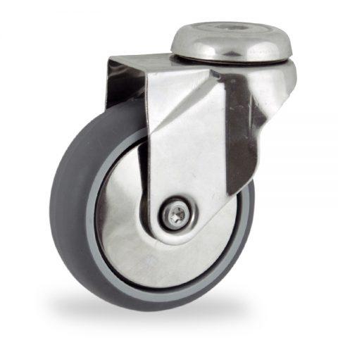 INOX Okretni točak,150mm za lagana kolica, sa točkom od termoplastika siva neobeležena guma osovina kliznog ležaja montaža sa otvor - rupa