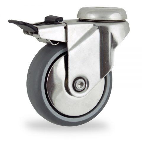 INOX Okretni točak sa kočnicom,75mm za lagana kolica, sa točkom od termoplastika siva neobeležena guma osovina kliznog ležaja montaža sa otvor - rupa