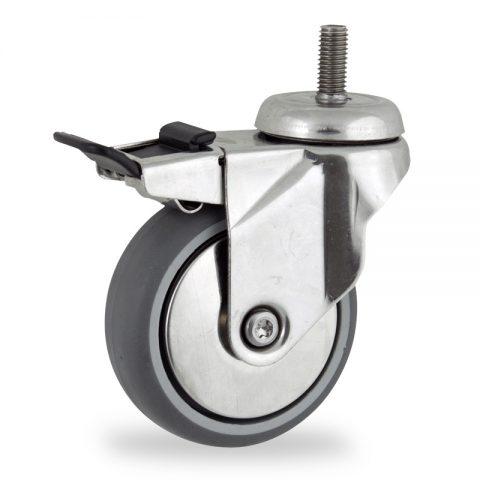 INOX Okretni točak sa kočnicom,150mm za lagana kolica, sa točkom od termoplastika siva neobeležena guma kuglični ležajevimontaža sa navoj