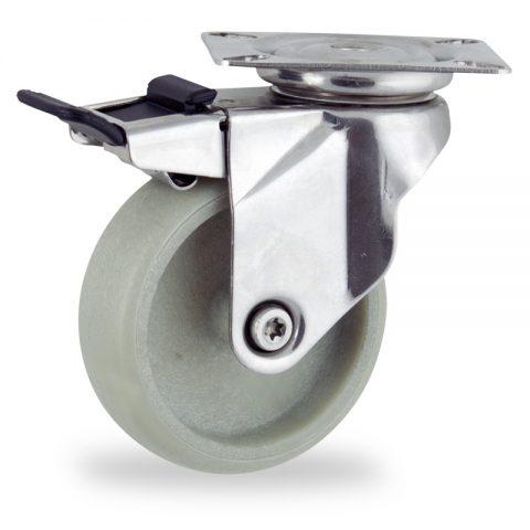 INOX Okretni točak sa kočnicom,100mm za lagana kolica, sa točkom od poliamid sa staklenom vlaknom osovina kliznog ležaja montaža sa gornja ploča