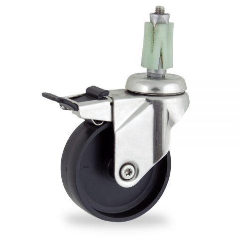 INOX Okretni točak sa kočnicom,75mm za lagana kolica, sa točkom od polipropilen  osovina kliznog ležaja montaža sa ekspander