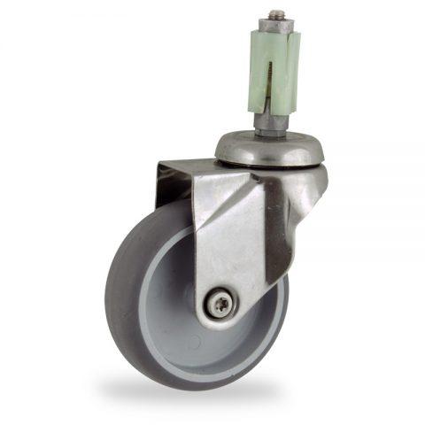 INOX Okretni točak,150mm za lagana kolica, sa točkom od termoplastika siva neobeležena guma osovina kliznog ležaja montaža sa ekspander