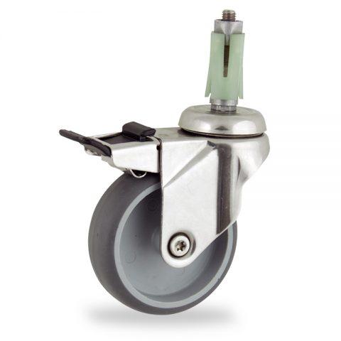 INOX Okretni točak sa kočnicom,125mm za lagana kolica, sa točkom od termoplastika siva neobeležena guma osovina kliznog ležaja montaža sa ekspander