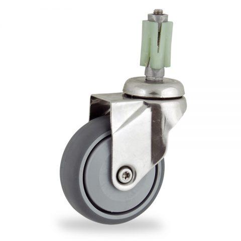 INOX Okretni točak,75mm za lagana kolica, sa točkom od termoplastika siva neobeležena guma osovina sa jednokugličnim ležajem montaža sa ekspander