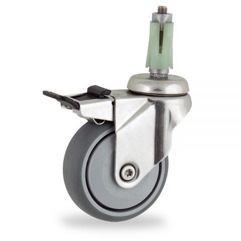 INOX Okretni točak sa kočnicom,100mm za lagana kolica, sa točkom od termoplastika siva neobeležena guma osovina sa jednokugličnim ležajem montaža sa ekspander