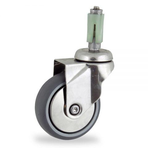 INOX Okretni točak,75mm za lagana kolica, sa točkom od termoplastika siva neobeležena guma osovina kliznog ležaja montaža sa ekspander