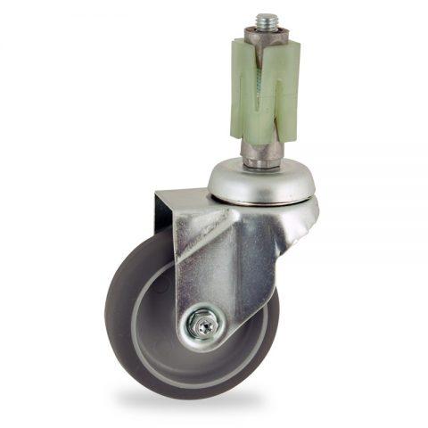 Okretni točak,100mm za lagana kolica, sa točkom od termoplastika siva neobeležena guma osovina kliznog ležaja montaža sa ekspander