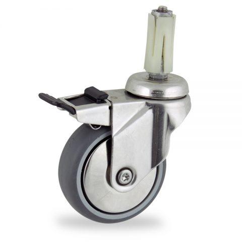 INOX Okretni točak sa kočnicom,150mm za lagana kolica, sa točkom od termoplastika siva neobeležena guma osovina kliznog ležaja montaža sa ekspander