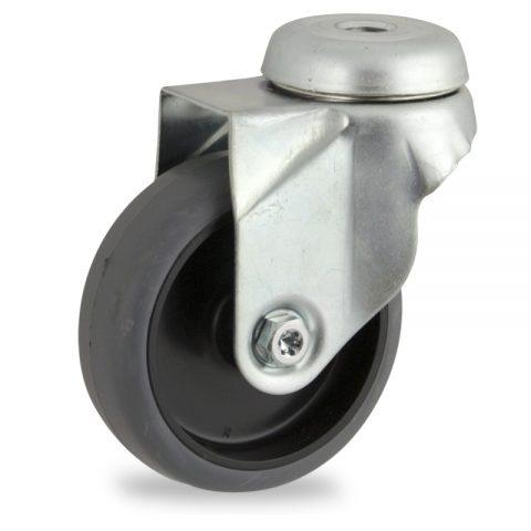 Okretni točak, lagane serije75mm za lagana kolica, sa točkom od termoplastika siva neobeležena guma osovina kliznog ležaja montaža sa otvor - rupa