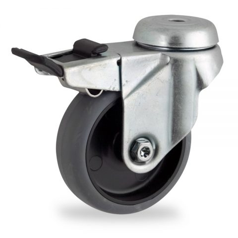 Okretni točak sa kočnicom, lagane serije75mm za lagana kolica, sa točkom od termoplastika siva neobeležena guma osovina kliznog ležaja montaža sa otvor - rupa