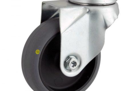 Okretni točak,125mm za lagana kolica, sa točkom od elektroprovodna termoplastika siva guma osovina kliznog ležaja montaža sa otvor - rupa